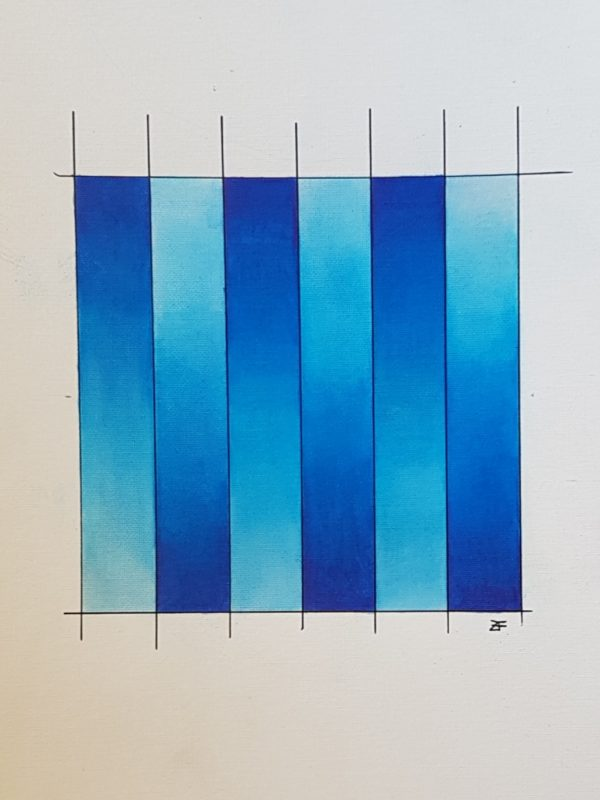 Blue, vodenke, 12 x 12 cm, 2018